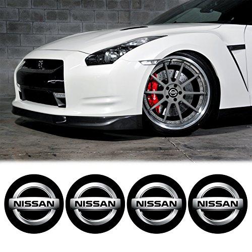 4 x 55mm Diametro NISSAN centro di rotella di Cap Emblem Sticker autoadesivo Per Piso Superfici prezzo poco costoso - Centro Di Rotella Cap