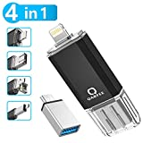Qarfee Clé USB 64Go pour iPhone e Andriod USB 3.0 Flash Drive avec Connecteur Lightning à l'Extension de Stockage Mémoire Stick pour iOS/iPad/OTG Andriod/PC - Noir