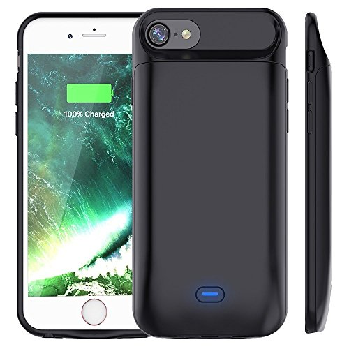 Bovon 5000mAh Akkuhülle für iPhone 8 / iPhone 7 Powerbank Ladegerät Batterie Hülle 200% Extra Akku Zusatzakku Externer Akku für iPhone 8 / iPhone 7 (4,7 Zoll) (Schwarz) Test