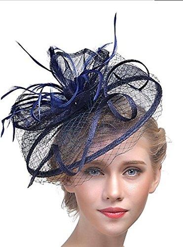 Flower-Ager Damen Mütze Acryl Haar Clip, Marineblau