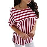 WINWINTOM T Shirt Damen Sommer,Amazon Prime Day 2018 Sale Frauen-Sommer-beiläufiges Gestreiftes T-Shirt Lose Oberseiten-Bluse