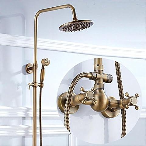 Bathroom Shower Faucet Antique Brass Adjust Height Handheld Shower Bath