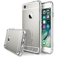 LIVHÒ | Funda con espejo por iPhone 7 – Carcasa protectora reflectantante Plata – Mirror case TPU, Anti-arañazos + Protector de pantalla en vidrio templado + Paño de limpieza