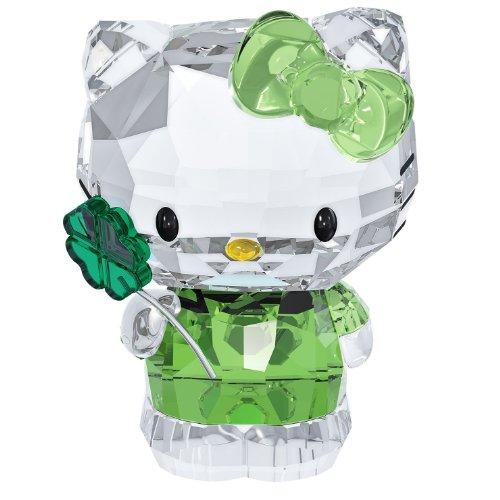 Swarovski Hello Kitty Glücksklee Figur, Glas, transparent,grün,schwarz,gelb, 3.7x5x2.8 cm