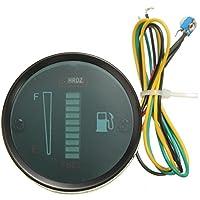 """Medidor de indicador de nivel de combustible - hongri 2"""" 52mm Medidor de indicador de nivel de combustible de motocicleta con 8 LED luz verde de 12V de pantalla"""