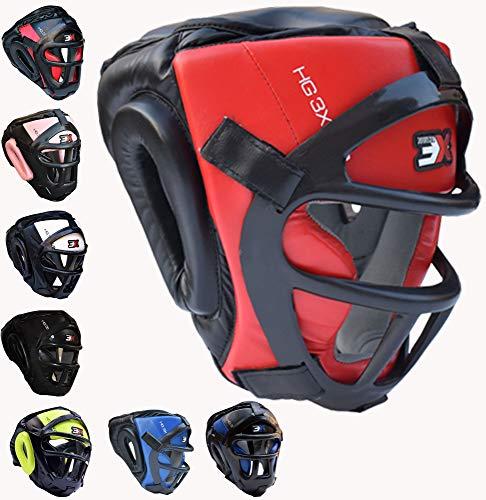 3X_Professional_Choice Grillkopfschutz Maya Hide Leder Boxing MMA Protector Kopfbedeckung UFC Fighting Full Face Kopfschutz Sparring Helm -