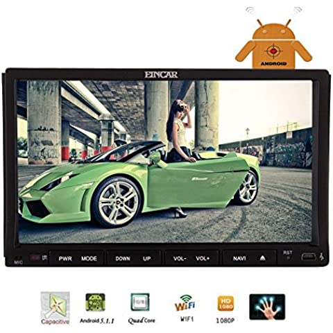 En la rociada GPS coches reproductor de DVD con Android 5.1 7 pulgadas EinCar Lollipop Doble Din Car Stereo 2 Quad Core 800 * 480 HD de pantalla t¨¢ctil completa para Bluetooth Radio AM / FM Receptor Jefe Unidad de Enlace
