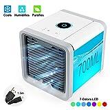 UBEGOOD Mini Luftkühler, Air Cooler Klimagerät Klima tragbar Luftkühler 3 Leistungsstufen Tischventilator USB Kühler 7 Farben Mobile Klimageräte Luftbefeuchter für Home Office Auto im Freien.