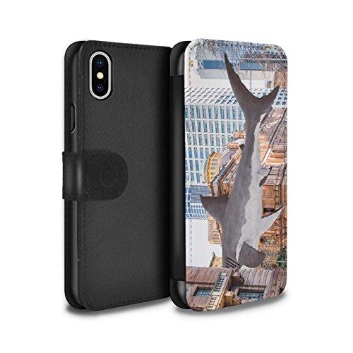 Stuff4 Coque/Etui/Housse Cuir PU Case/Cover pour Apple iPhone X/10 / Météore Design / Vers Bas Sous Collection Attaque de Requin