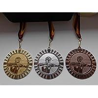 Bogenschießen Pokal Kids Medaillen 70mm 3er Set mit Deutschland-Band Emblem e103 Pokale & Preise