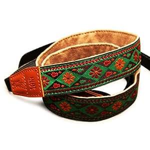 Arnuvo ethnique avec sangle pour appareil photo SLR, DSLR Motif floral Vert