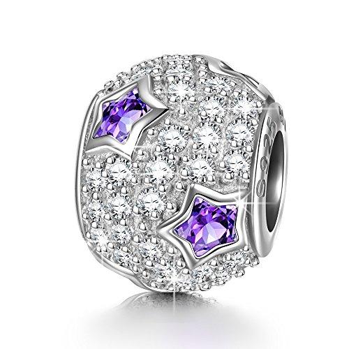 NINAQUEEN Charm für Pandora Charms Armband Lila Stern Geschenk für Frauen Paare Silber 925 Schmuck Damen Geschenk zum Valentinstag