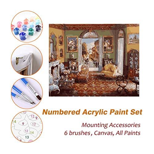 dkunst Ölgemälde-Sets, viktorianischen Wohnzimmer gerahmte acrylfarbe by Numbers Kits für Kinder Erwachsene anfänger künstler Fotografie Pinsel liefert DIY Bild 707 ()