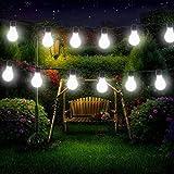 Birne Lichterketten, EONHUAYU 3.5M 10 LED Solar-Lampen-Schnur Beleuchtet Wasserdicht mit 2 Modi, die für im Freien, Garten, Weihnachtsdekorationen Weißes Licht Beleuchten