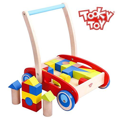 Tooky Toy Spiel- Und Lauflernwagen Für Kinder - Mit Bunten Bausteinen Aus Holz - Ihr Kind Lernt Spielend Leicht Das Laufen - Ca. 35 x 29 x 40 cm