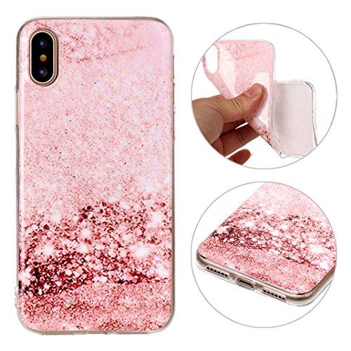 iPhone X Hülle Marmor, Rosa Schleife Ultra Dünn Slim Silikon Backcover mit Bunte Marmor Muster Bumper Schale Schutzhülle Handyhülle für iPhone X 2017 Rosa Marmor