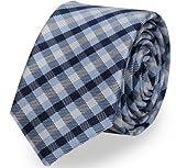 Fabio Farini karierte 6 cm Krawatte, für jeden Anlass mit Karomuster in mehreren Farben (Blau Weiß)