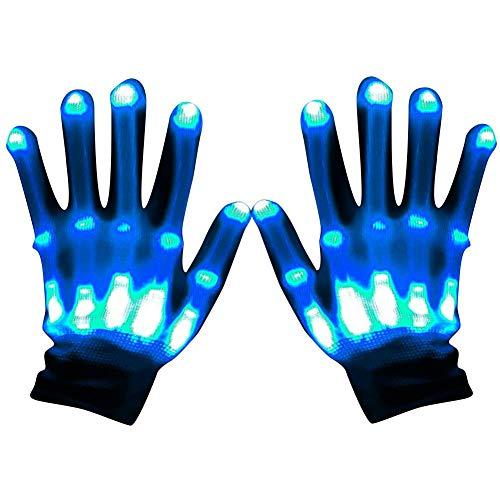 Regenbogen-Licht Bühnenhandschuhe LED Beleuchtung Dekorative Handschuhe LED Flash Handschuhe Spielzeug Licht Urlaub Party Neue super hell Regenbogenbeleuchtung Bühnenleistung blau