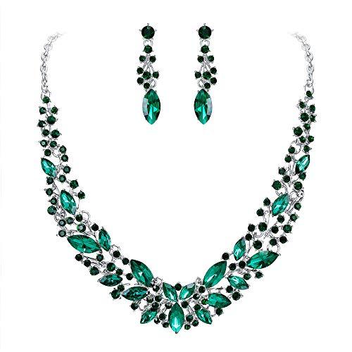 Clearine Damen Schmuckset Hochzeit Braut Österreichischen Kristall Marquise Cluster Kragen Halskette baumeln Ohrringe Set Smaragd-Grün Silber-Ton