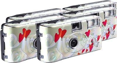 TopShot Flying Hearts - Cámaras desechables (27 fotos, flash, 5 unidades), color crema [Importado de Alemania]