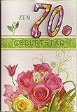 Geburtstagskarte zum 70. Geburtstag - Handmade Style - Motiv 06