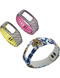 Recambio DareTang bandas para Garmin Vivofit actividad pulsera pulsera inteligente, 3piezas por paquete, color Blue Flower/Pink Check/Yellow Check, tamaño large