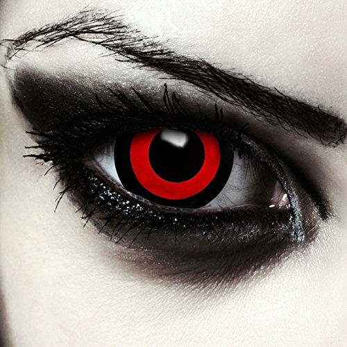 Mini Sclera Kontaktlinsen 17mm Rot Schwarze Halloween Tokyo Ghoul Saw Puppe Kostüm Farblinsen + Gratis Kontaktlinsenbehälter (Tokyo Ghoul)