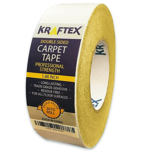 New: Original Carpet Tape 90ft Roll, for Rugs, Mats, Pads, Runners [Anti Slip Non Skid Technology] Indoor Gripper Tape Double Sided Adhesive [Works on Any Floor] Grips Hardwood, Tile, Laminate Floor Test