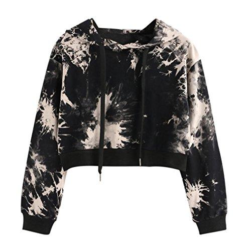 Amlaiworld Sweatshirts Herbst Frauen bunt Kapuzenpulli Damen warm Sweatshirt Sport Bluse Mode Pullover kurz bauchfrei Tops (XL, Schwarz)