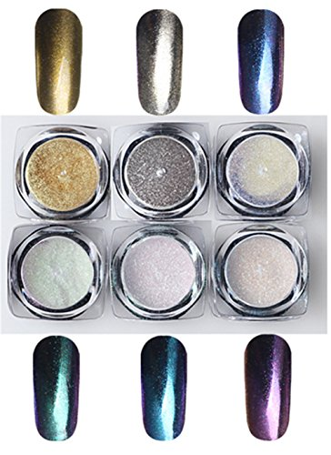 BrilliantDay 6pz Unghie Glitter Shinning Specchio Cromo Unghie Manicure Pigmento