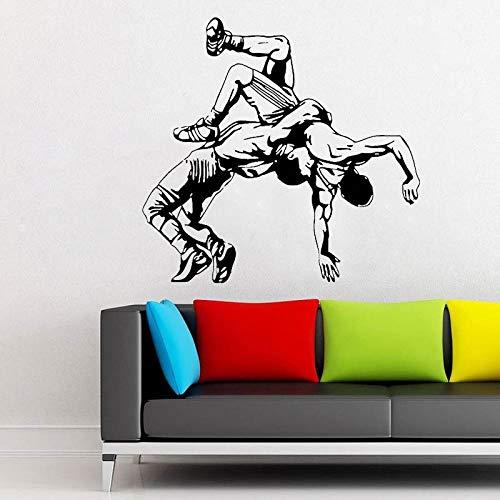 Moderne wohnkultur Wand Vinyl Aufkleber Aufkleber Wrestling jiu Jitsu Greco römischen Freestyle abnehmbare kunstwand DIY weiß 57x54 cm -