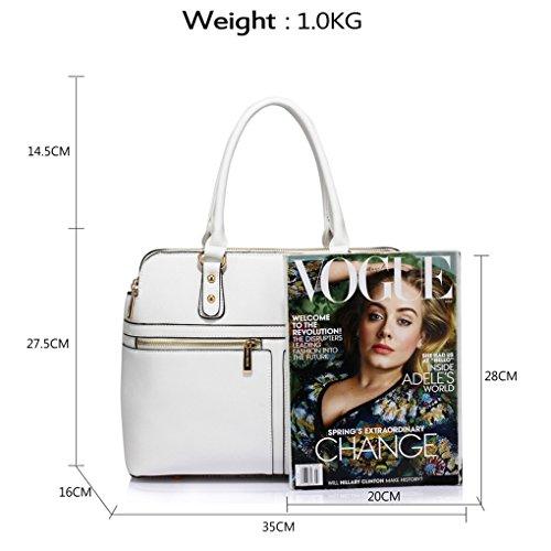 LeahWard® Damen Tragetaschen Berühmtheit Stil nett Handtaschen 3 Fächer Groß Tasche 250 Weiß/Cream