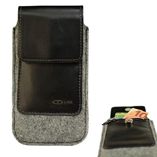 OrLine Handytasche kompatibel mit Microsoft Lumia 640 LTE mit Silikon Case. Gürteltasche mit Magnetverschluß und EC-Kartenfach aus Echtleder mit Filz. Schutz-hülle Handy-hülle Schwarz-Grau Etui