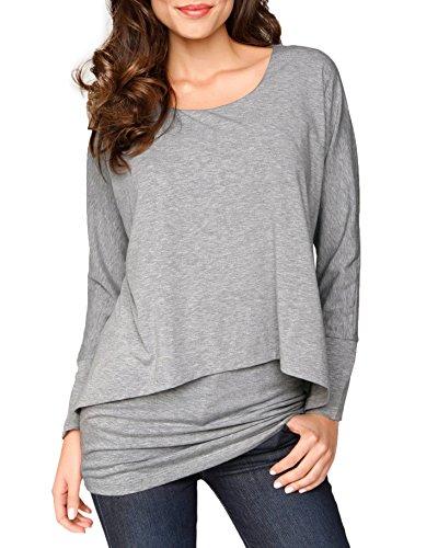 Jusfitsu Damen 2-in-1 Optik Langarmshirt Rundhals Casual Bluse Langarm T-Shirt Tops Grau M (Ärmel-schwarz-grau-shirt)