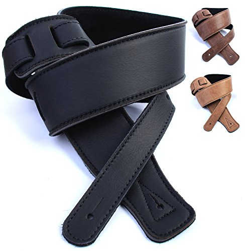 dbm-italian-leather-guitar-strap-black-ultra-soft-strap-up-to-13m-for-electric-acoustic-bass-guitar