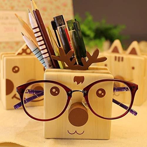 Hölzerner Hirschkugelschreiberhalter komplett mit Nasen- / Brillengestell oder Handyhalter, multifunktionaler Schreibtisch-Organizer für Schreibwaren mit 2 Ablagefächern (Color : Deer)