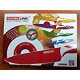 SWISS LINE Stainless Steel 5 Pcs Coloured Knife set + Free Peeler