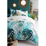 J&K Markets Housse de Couette Kayapo Tropical - 220x240cm + 2 taies d'oreillers - 100% Coton 57 Fils