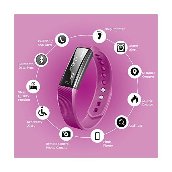 Fitness Tracker Pulsera Inteligente, RobotsDeal id115 Recordar de llamada con Bluetooth Remoto Disparador Automático Inteligente Reloj Podómetro Inalámbrico Actividad Tracker ( Púrpura) 2