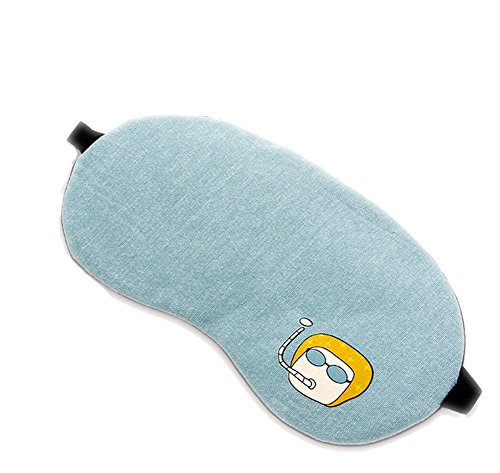 CAOLATOR Baumwolle Augenmaske Einfach Heiß und Kalt Atmungsaktive Brille Schattierung zur Ermüdung Schutzbrillen Niedlicher für Zug Bus Haushalt Flugzeug Reise Büro (Blau)