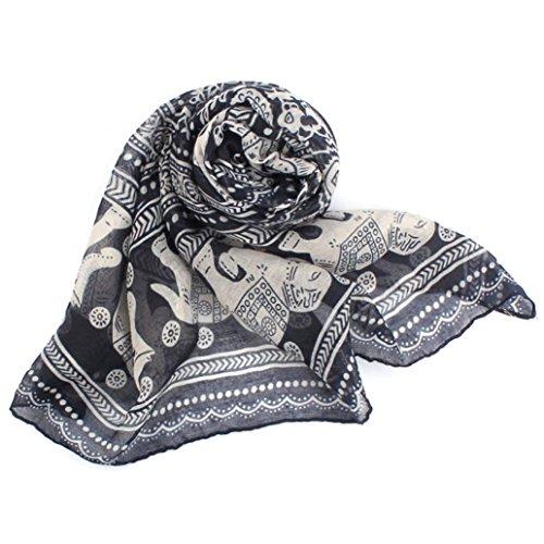 Meily Las nuevas señoras Cuello robó elefante Imprimir bufanda larga del mantón del abrigo de Pashmina (Azul)