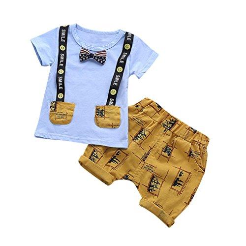 ♬ GongzhuMM Ensemble Haut et Short Bébé Garçon 12 Mois-3 Ans Vetement Enfant Garçon Imprimé Smile Été Chemises Tops T-Shirt + Shorts Mode