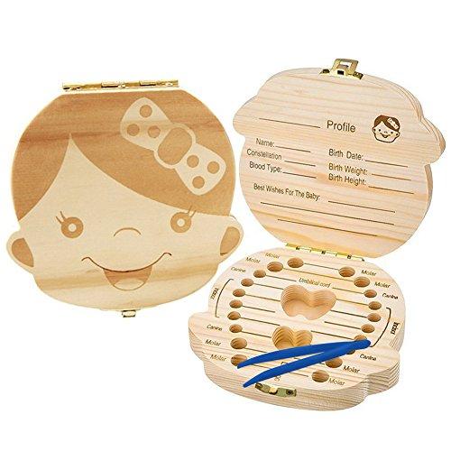 Baby Milchzahndose Box Organizer, Holz Zahndose, Zähne Box für Baby, Kinder Milchzähne Box/Nabelschnur/Lanugo Aufbewahrungsboxen Geschenk Sets Erinnerungsboxen für Babys Jungen Mädchen - Pinzette