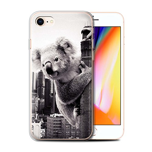 Stuff4 Gel TPU Hülle / Case für Apple iPhone 8 / König Koala Muster / Unten Unter Kollektion König Koala