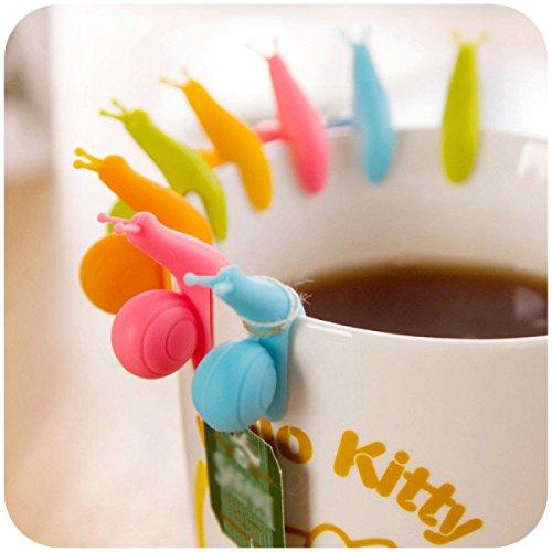 Caracol Copa Etiqueta para Hanging Té Bolsa Caracoles coloridos regalos de silicona Clip Vasos Gadgets-color al azar