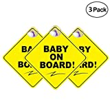 H.Yue 3 Pack Baby on Board Car Sticker with Suction Cup - Best Baby Safety Signs...