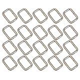 Pixnor Silber Rechteck Dee Metallring D Webbing Belt Ribbon Schnalle 25mm Gurt Adjuster VPE 20 (32mm)