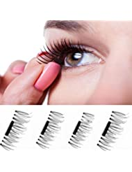 Faux Cils 3D Magnétiques, Oyedens NOUVELLE Ultra-mince Faux Cils Magnétique Aimant Cils Réutilisables 3d Extension Naturel Faux Noir Parfaits Cils Maquillage (#A)