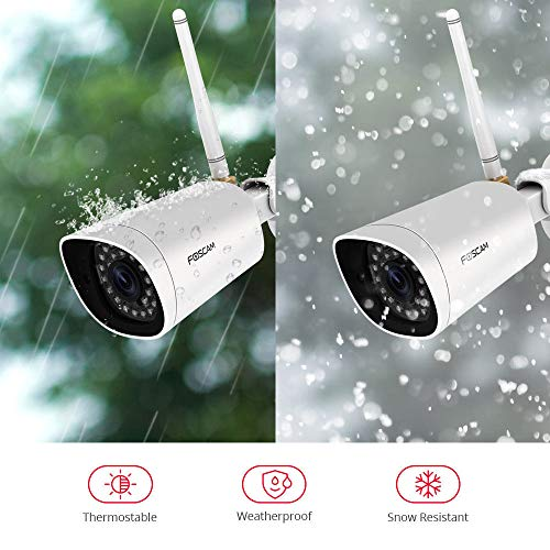 Foscam FI9902P – Full HD Outdoor IP/WLAN Überwachungskamera mit Nachtsichtfunktion + Fernzugriff I 2-Way-Audio-Sytem IP-Kamera mit 2 MP I P2P Kamera mit Bewegungserkennung + microSD-Kartenslot