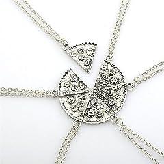 Idea Regalo - Una serie di forma di Pizza Six Pack collane d'argento collane paio di Amicizia